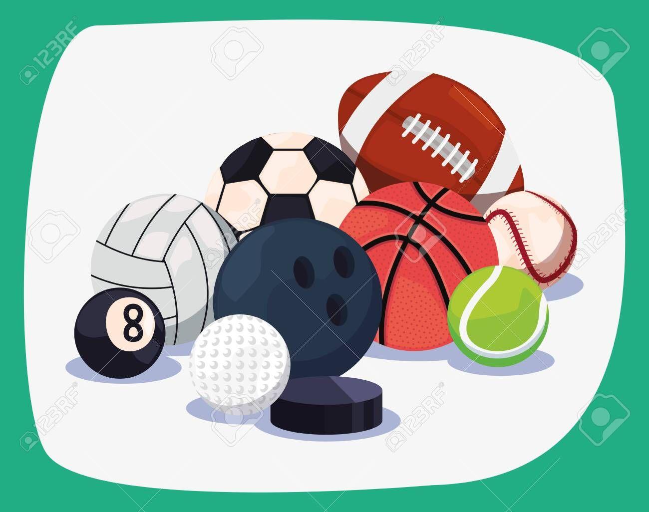 Volleyball Bowling Baseball Billiard Basketball Rugby Tennis Golf Soccer Sport Balls Equipment Vector Illustration In 2020 Sport Soccer Sports Balls Social Media Logos