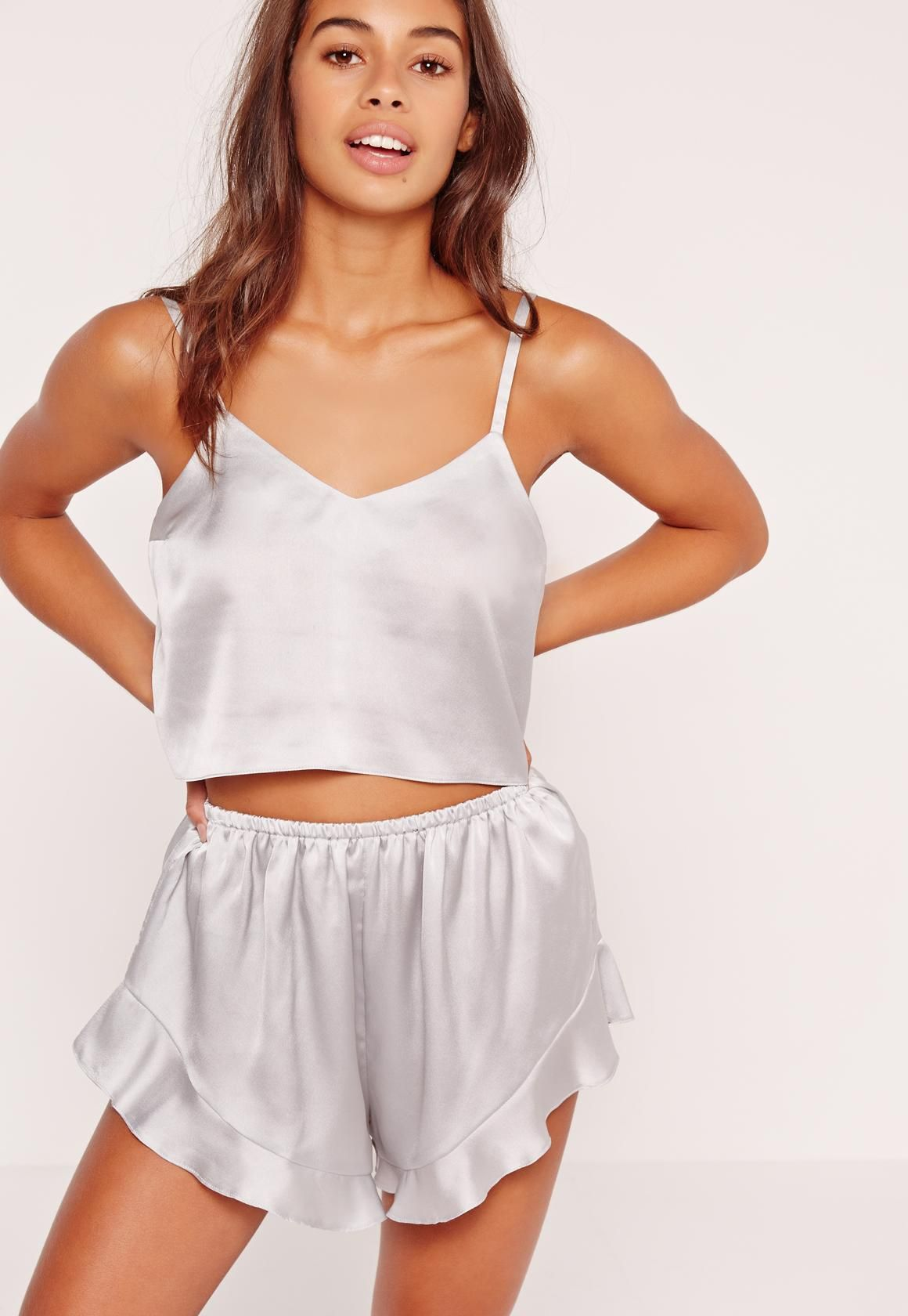 2abbc4bbeb3 Missguided - Cropped Cami PJ Set Silver Silk Pj Set, Satin Pajamas, Pyjamas,