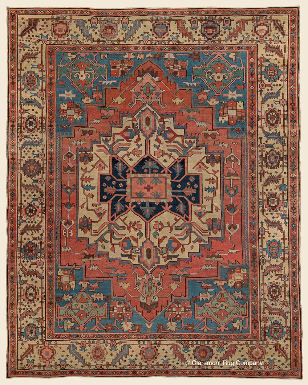 Sold Antique 19th Century Persian Serapi Geometric Medallion High