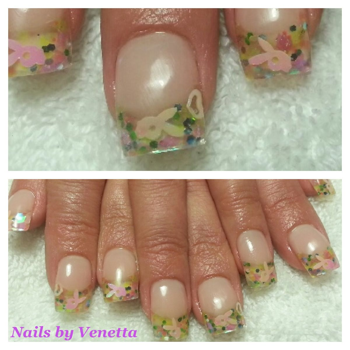 French Acrylic Nails Playboy Bunny Stamped | nails ...