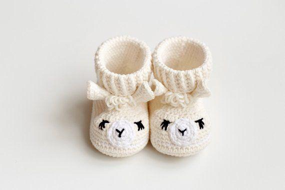 49d2046e25ab Baptism favor gift for boy girl white cream llama animal baby booties.  Crochet soft sole newborn cri