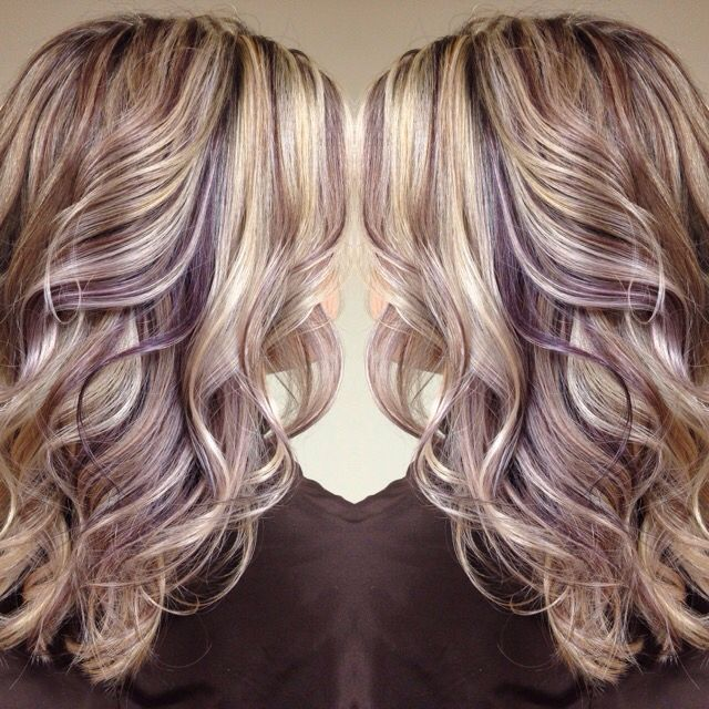 Earthy Purple Lowlights Long Blonde Hair Blonde Hair