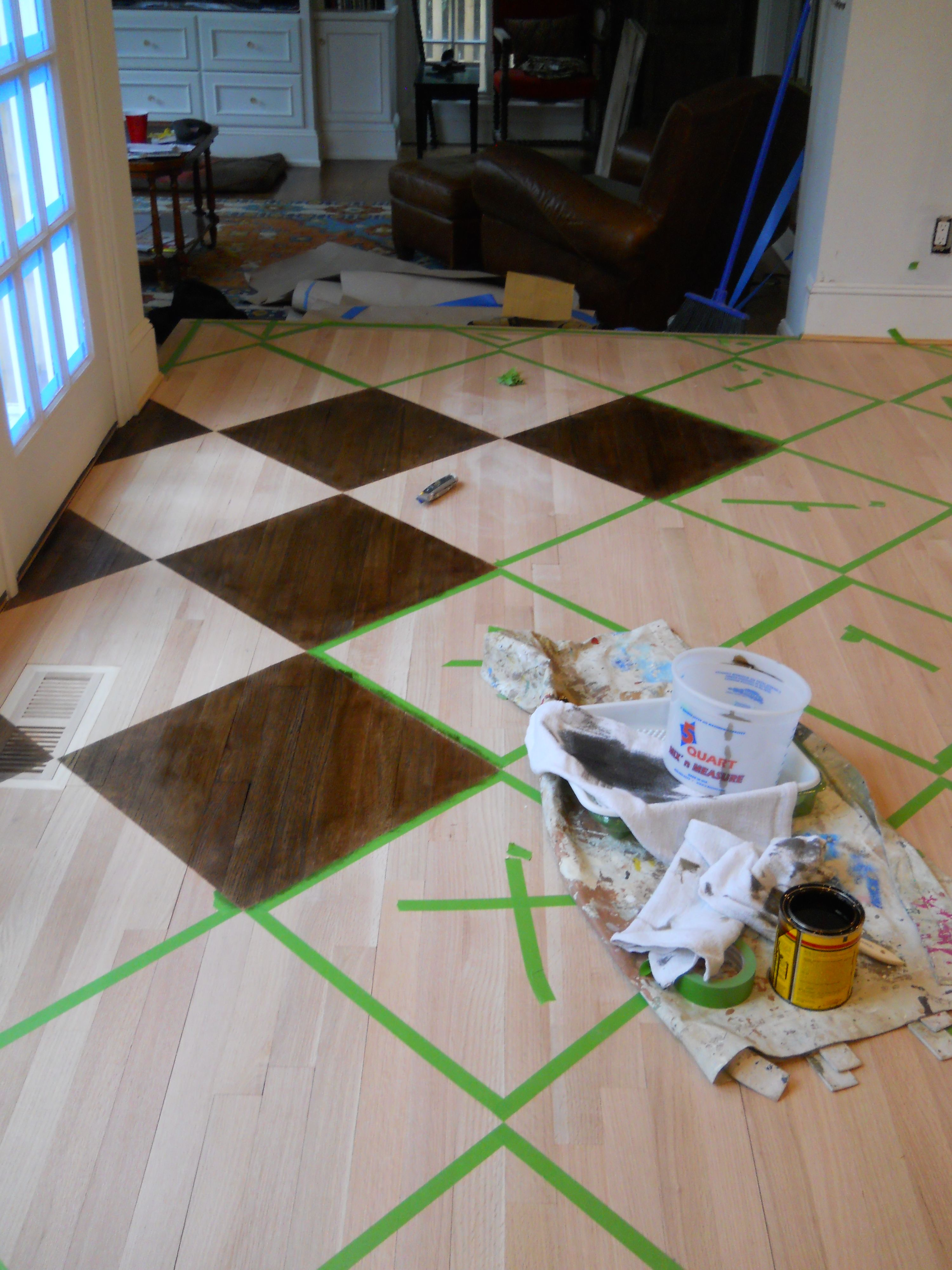 Geometric Stained Wood Floor How To Painted Wood Floors