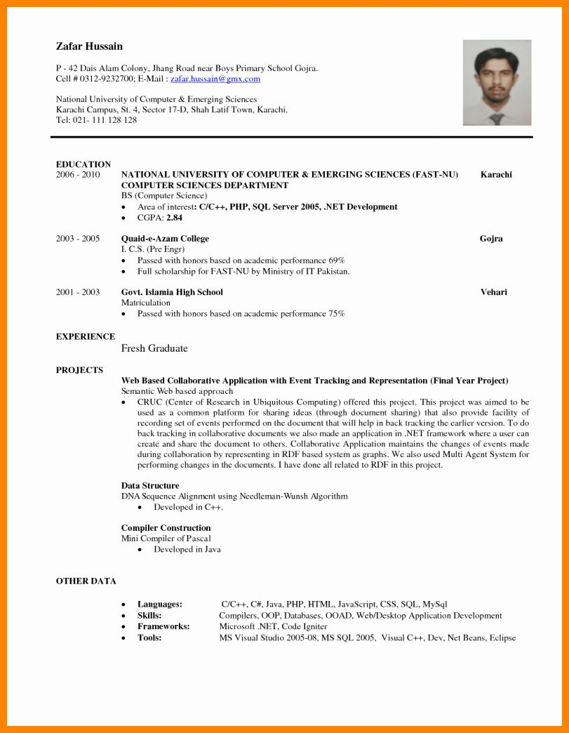 Computer Science Resume Entry Level New 8 Cv Sample for