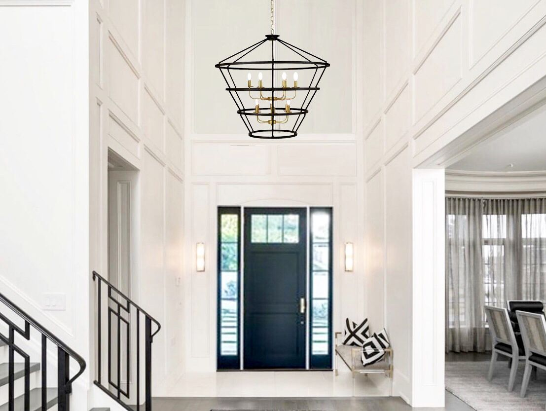 Massive Brown And Gold Pendant Lantern By Lillian Home Lillian Home Large Chandeliers Entry Lighting Large Foyer Ideas