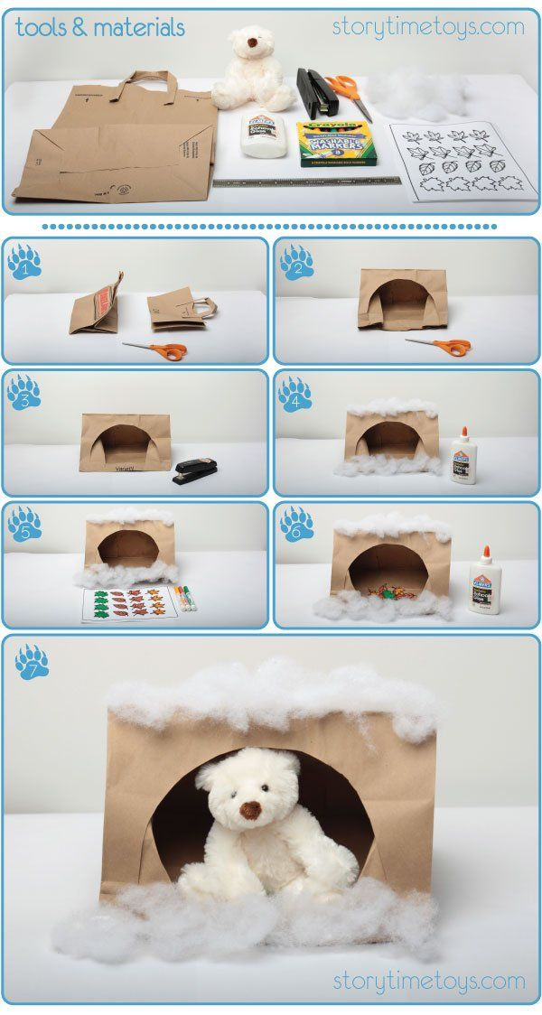 Cute and Easy Paper Bag Bear Caves
