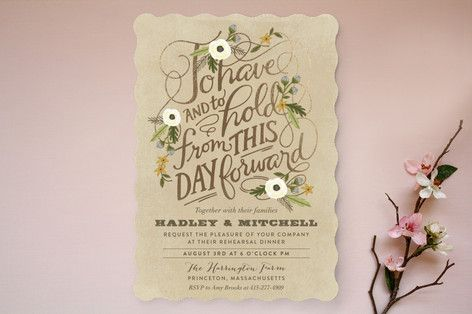 """""""Boheme"""" - Rustic, Floral & Botanical Rehearsal Dinner Invitations in Marigold by Griffinbell Paper Co.."""