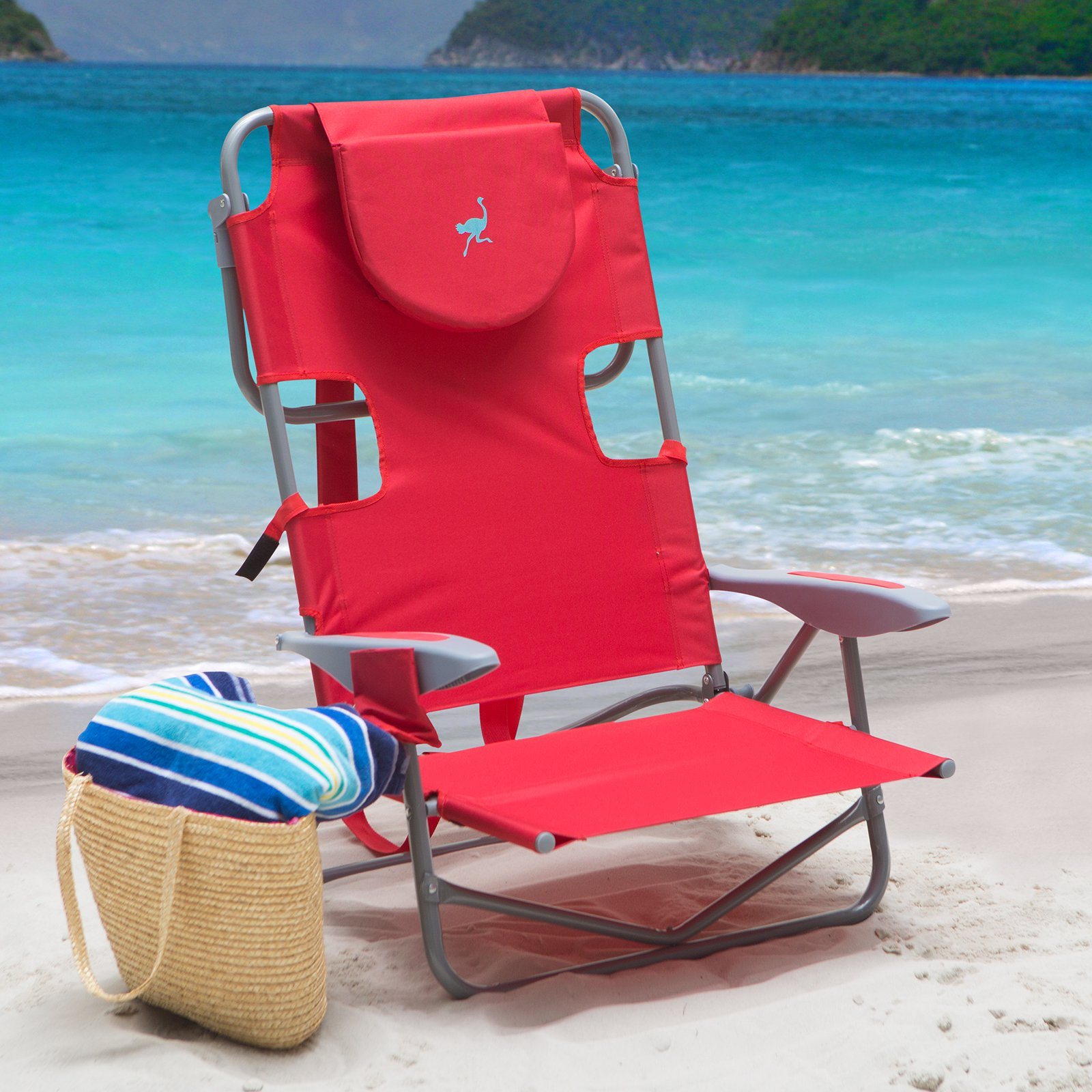 Pleasant Outdoor Ostrich On Your Back Backpack Beach Chair Red Inzonedesignstudio Interior Chair Design Inzonedesignstudiocom