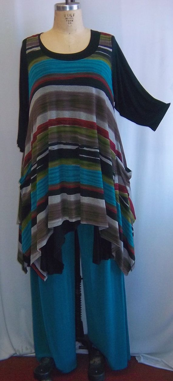 Coco and Juan Plus Size Top Lagenlook Layering Tunic Multi Stripe Knit Size 1 Fits 1X,2X Bust to 51 inches  Ask a Question $36.00 USD