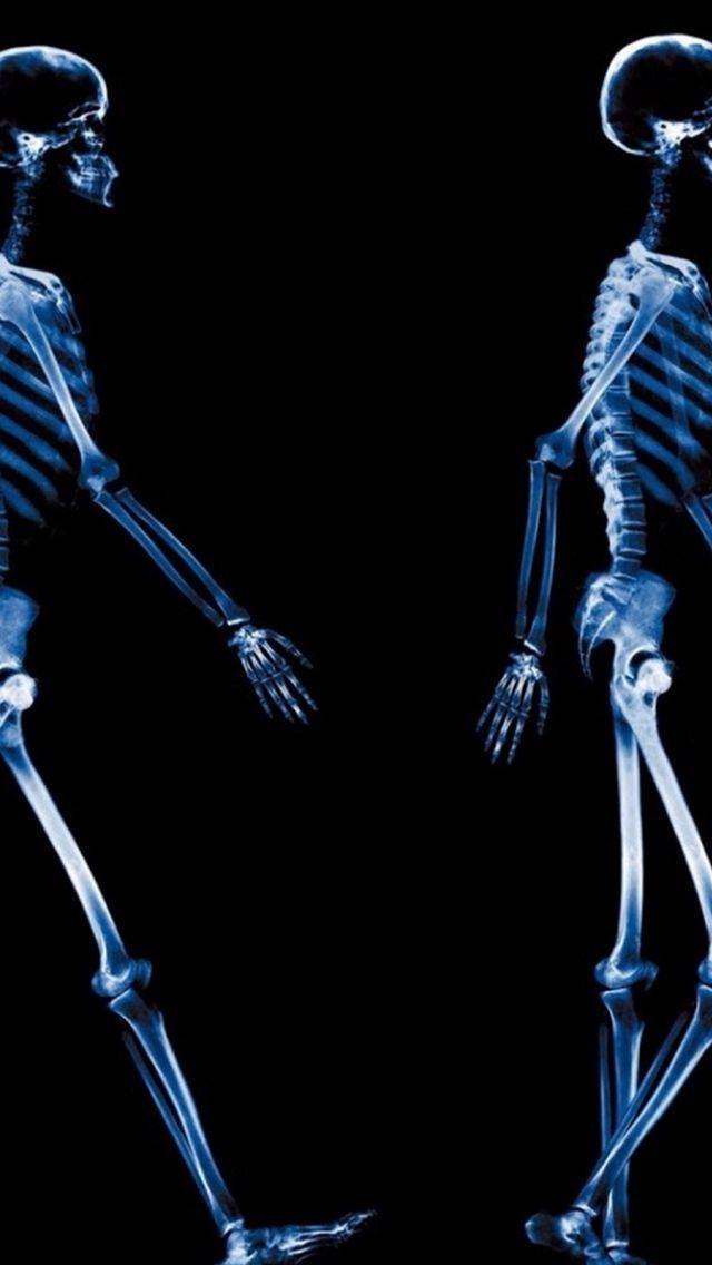 Abstract Xray Walking Human Skeleton Dark iPhone