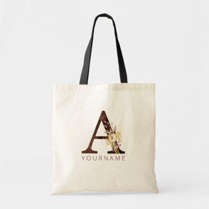 Floral Monogram A Rich Autumn Foliage Tote Bag | Zazzle.com #autumnfoliage