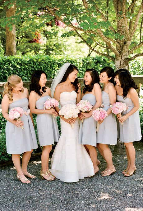 A pink themed outdoor wedding peonies bouquet peony and gray bridesmaids in short strapless gray jew bridesmaid dresses carried pink peony bouquets mightylinksfo