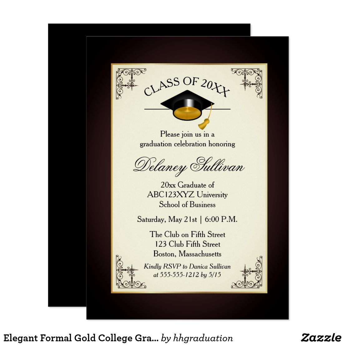 Graduation Announcement Card Envelope Includes Back Side Printing Graduation Collage