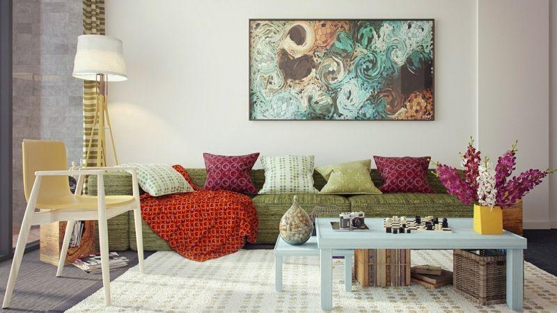 Wohnzimmer dekorieren \u2013 50 Ideen mit Kissen, Bilder, Vorhänge  mehr - deko ideen vorhange wohnzimmer