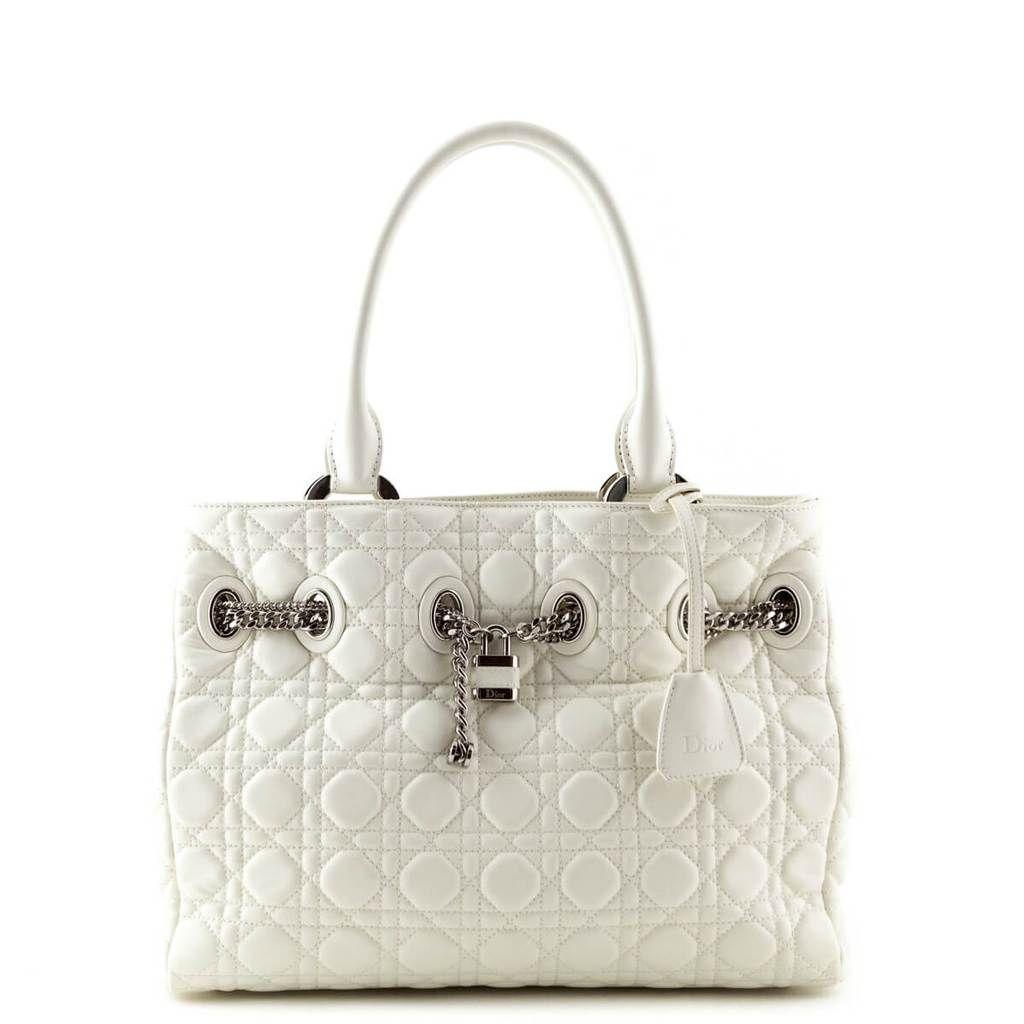 fa6de2a2cf36 Dior White Cannage Calfskin Chri Chri Tote - LOVE that BAG - Preowned  Authentic Designer Handbags