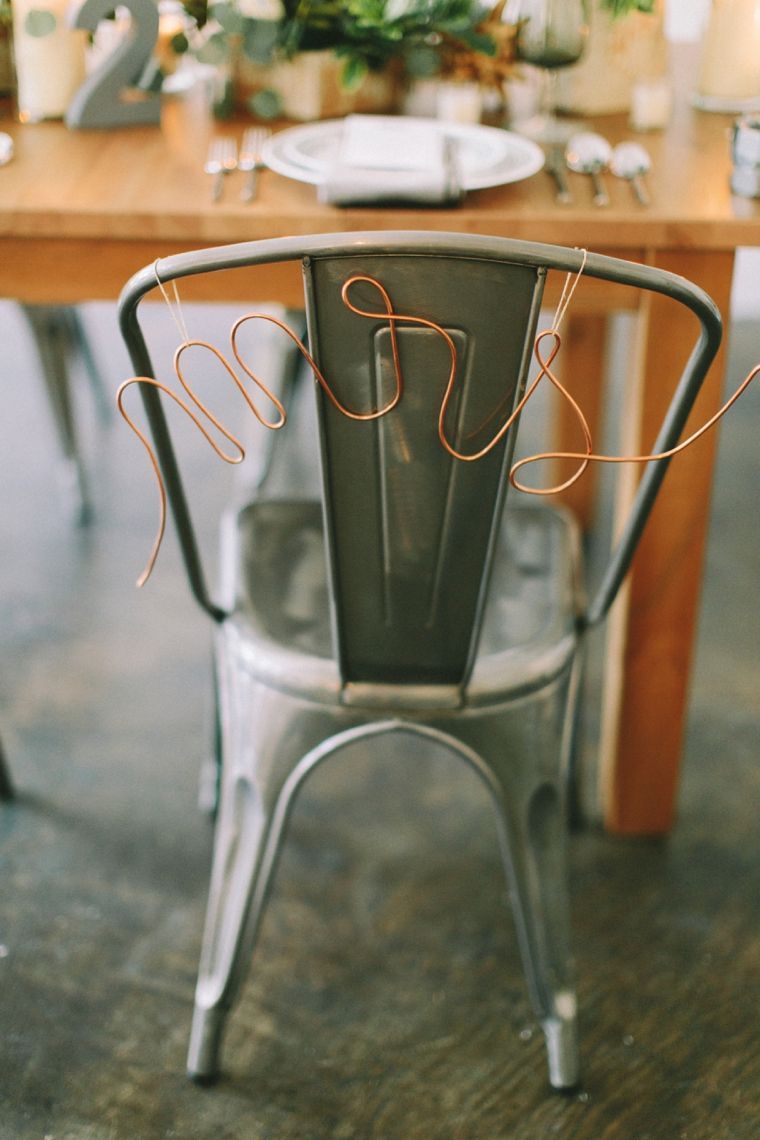 "Copper ""Mrs"" chair decor- LOVE!  see more: http://theeld.com/1yLN2Ug"