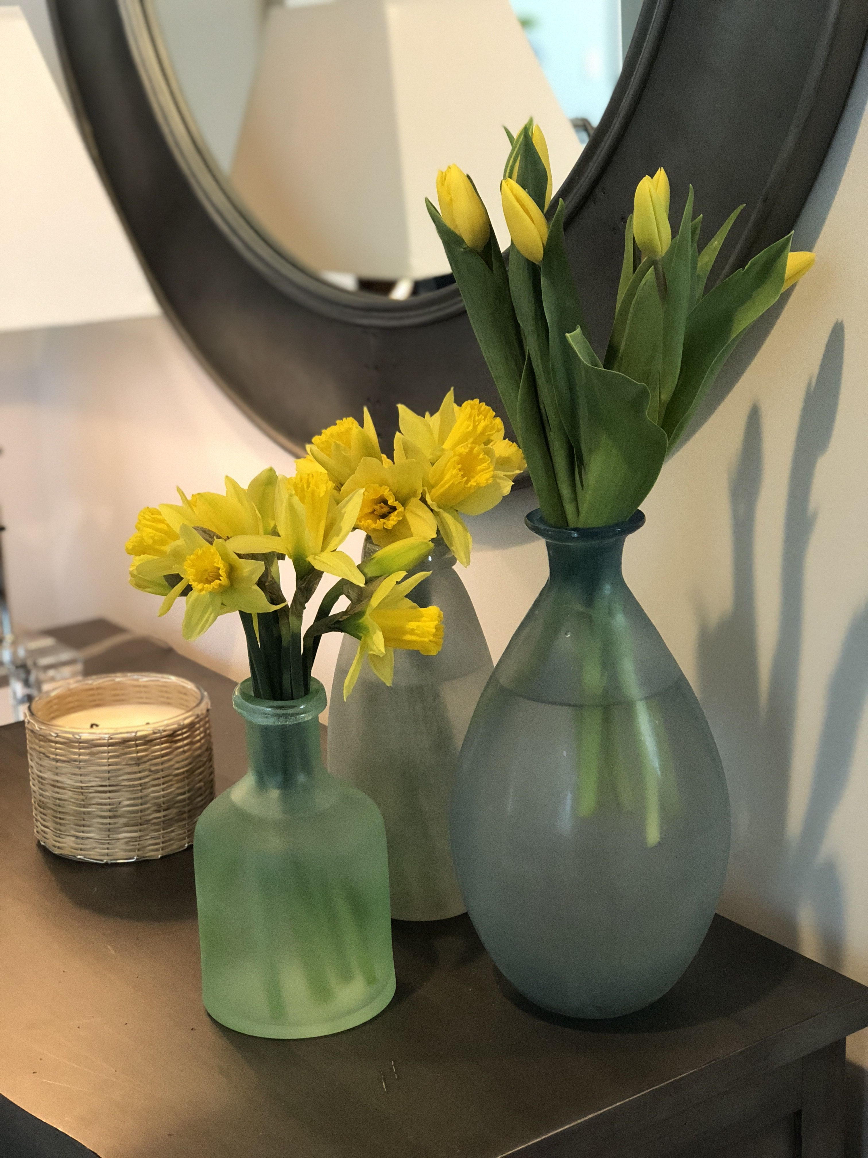 Loving our new SeaGlass (Pottery Barn) vases on our entry ...