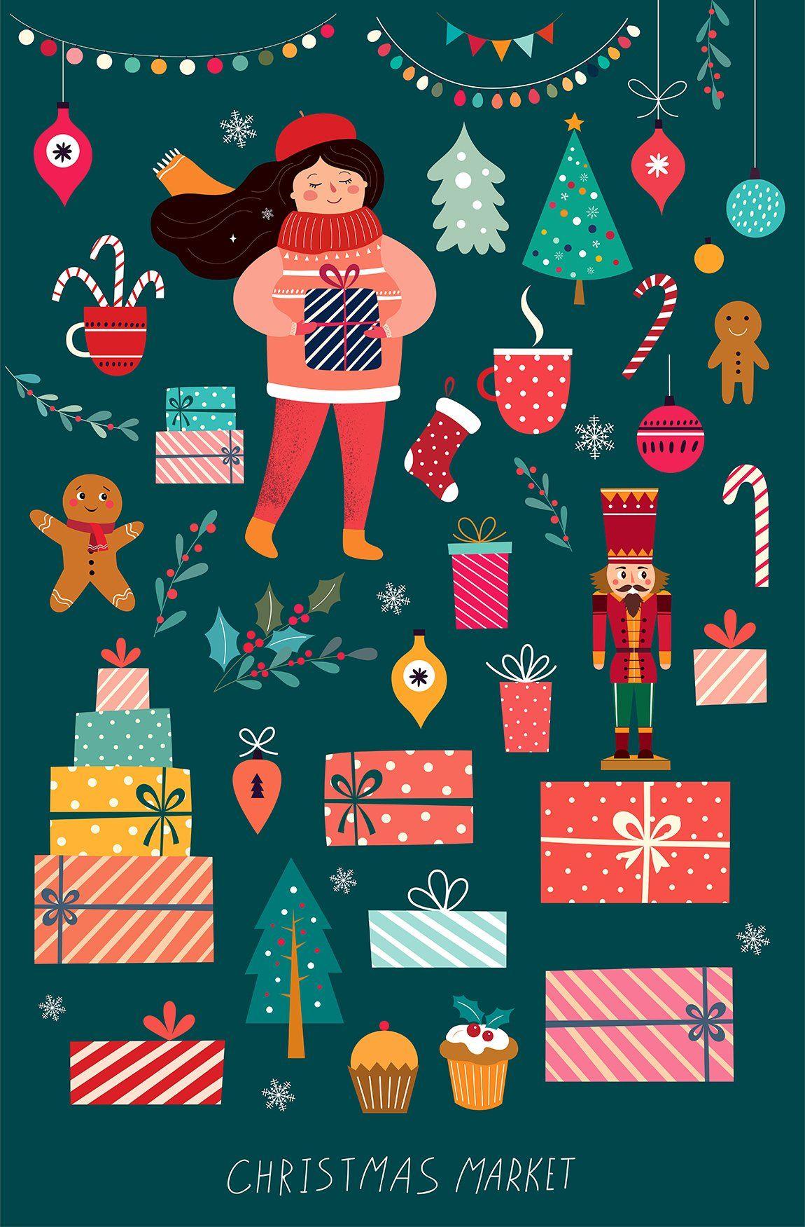 Vintage Christmas Collection Christmas Graphic Design Christmas Illustration Christmas Graphics