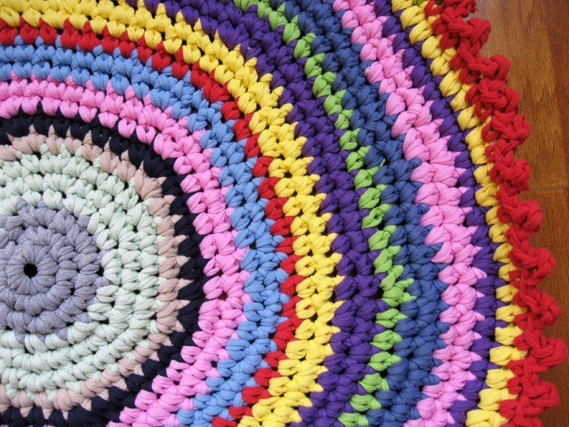 Colorful Crochet T Shirt Yarn Rug Crochetstring Craft Pinterest
