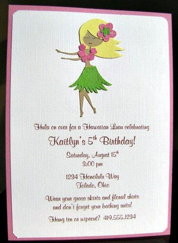 Luau Party Invitations Hula Girl Invitation Shower Beach B