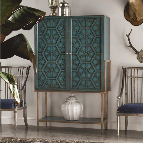 Cachet Libation Bar Cabinet is part of Large Bar cabinet - One of a kind accent pieces reflecting formal, casual, contemporary and painted style categories  The custom hardware has been chosen to work with each piece so that it performs functionally, as well as aesthetically