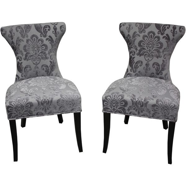 Hd Couture Cosmo Grey Fan Damask Dining Chair Featuring Polyvore Home Furniture Chairs Dining Chairs Dining Chair Set Dining Chairs Patterned Dining Chairs
