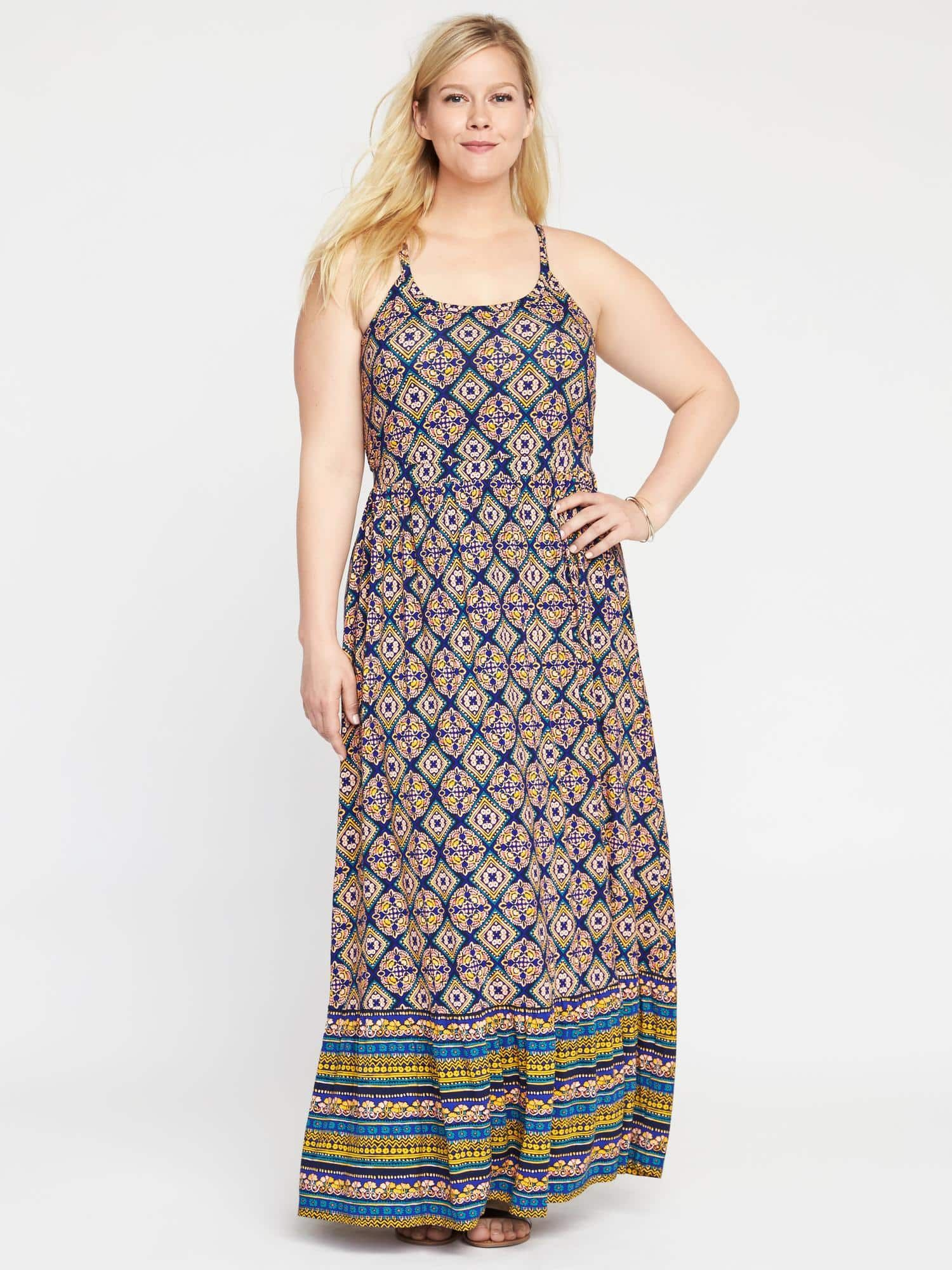254cd51eb4 High-Neck Plus-Size Maxi Dress