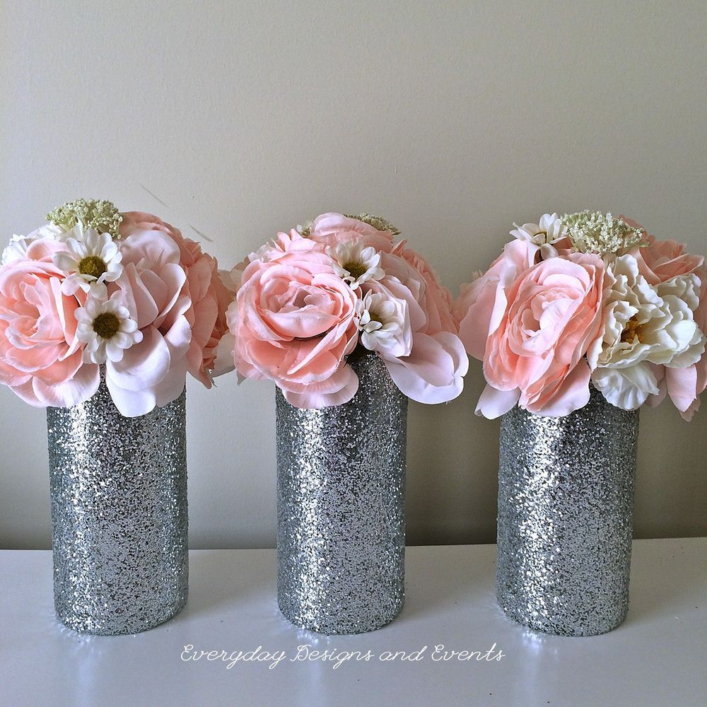 3 Silver Glitter Vase Wedding Centerpiece Decorations Party Decor Flower Vase Handm Wedding Decorations Centerpieces Silver Wedding Centerpieces Glitter Vases
