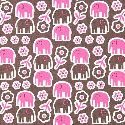 kankaita.com Cotton Elefantti Sibel 2 - Puuvilla - pink