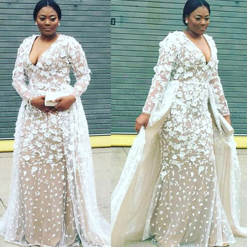 Lace prom dresses 2020 v neck long sleeve lace appliques