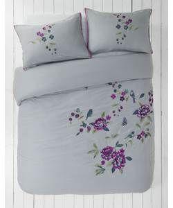 Heart Of House Anya Grey Bedding Set Kingsize Duvet Cover