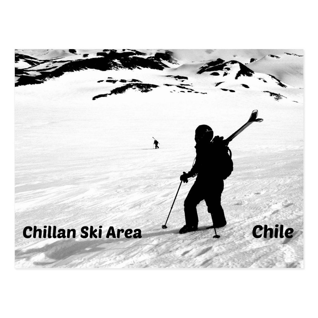 View of a skier in the Chillan Ski Area, Chile.