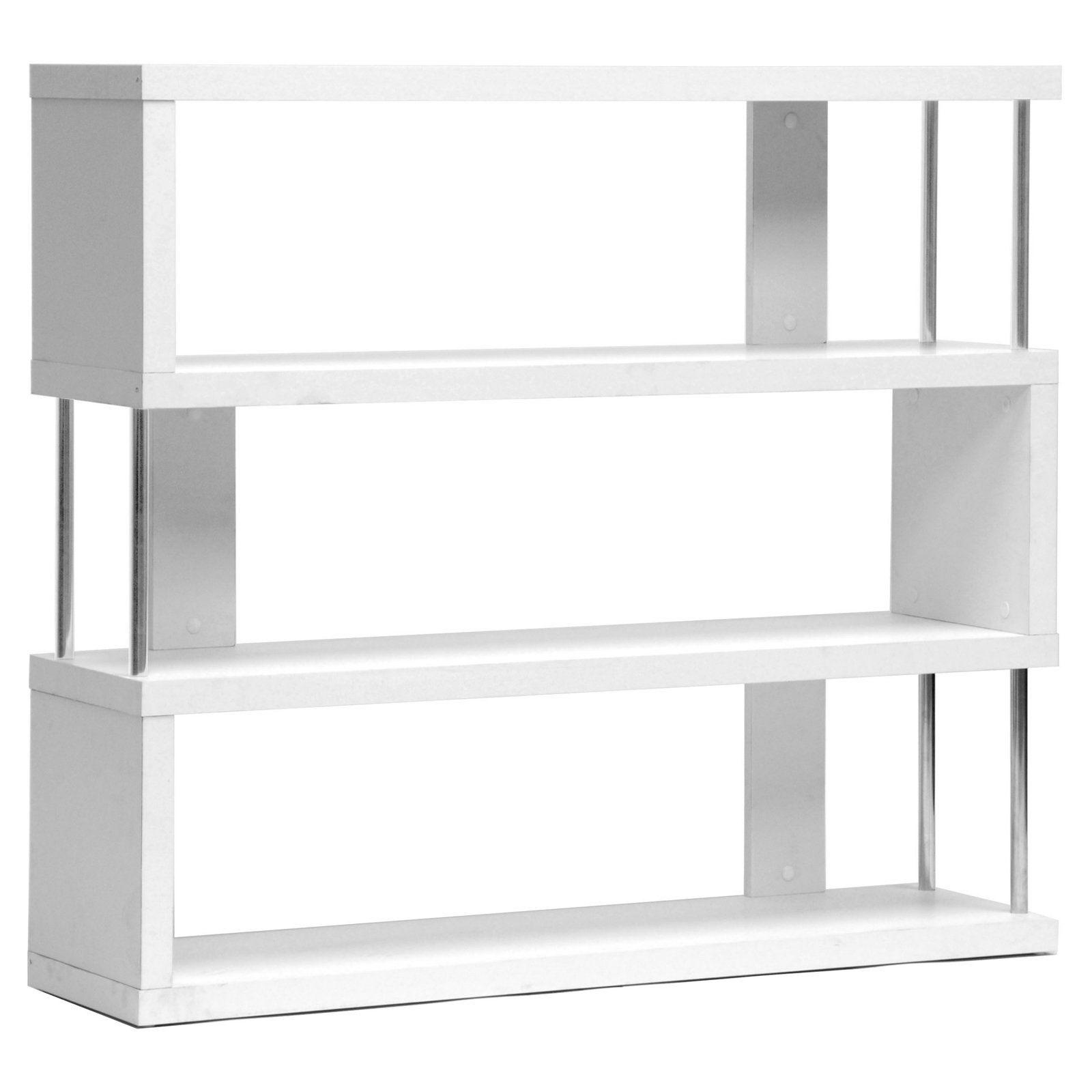 Baxton Studio Barnes 3 Shelf Modern Bookcase  White  Fp 3D White
