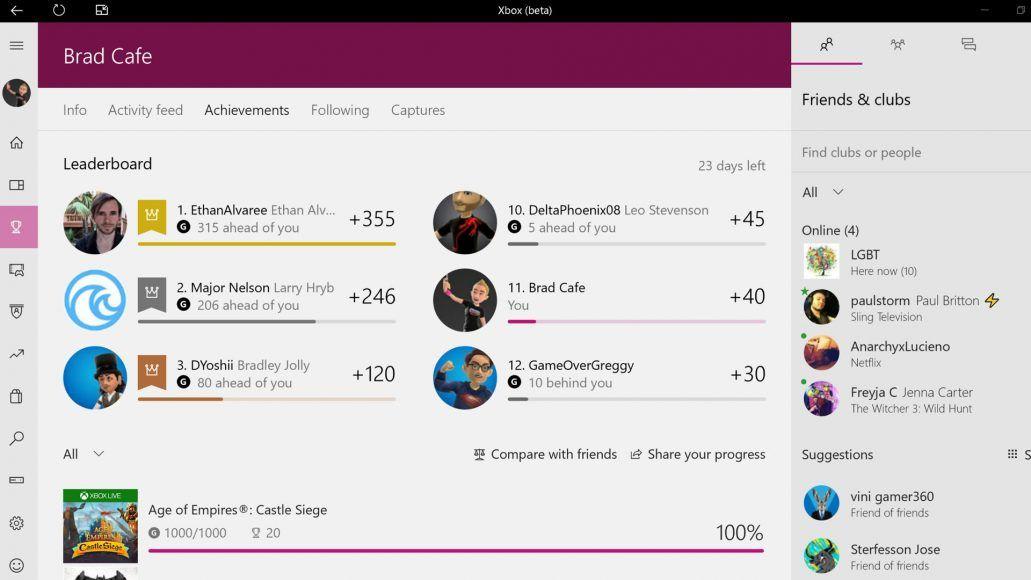 Windows 10 Xbox Beta app loses Avatars & gains Light Mode