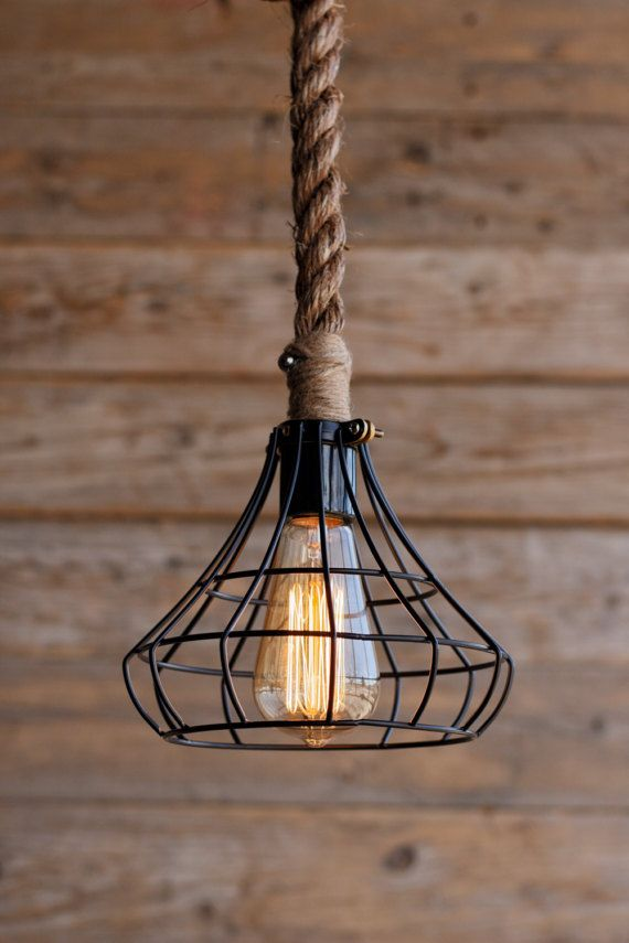 The Crown Pendant Light Rustic Industrial Cage Lighting Manila Rope Swag Ceiling Lamp Edison Bulb Hanging Chandelier