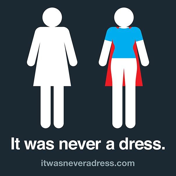 According to a new campaign from software developer Axosoft, the character  on the women's restroom sign isn't wearing a dress.