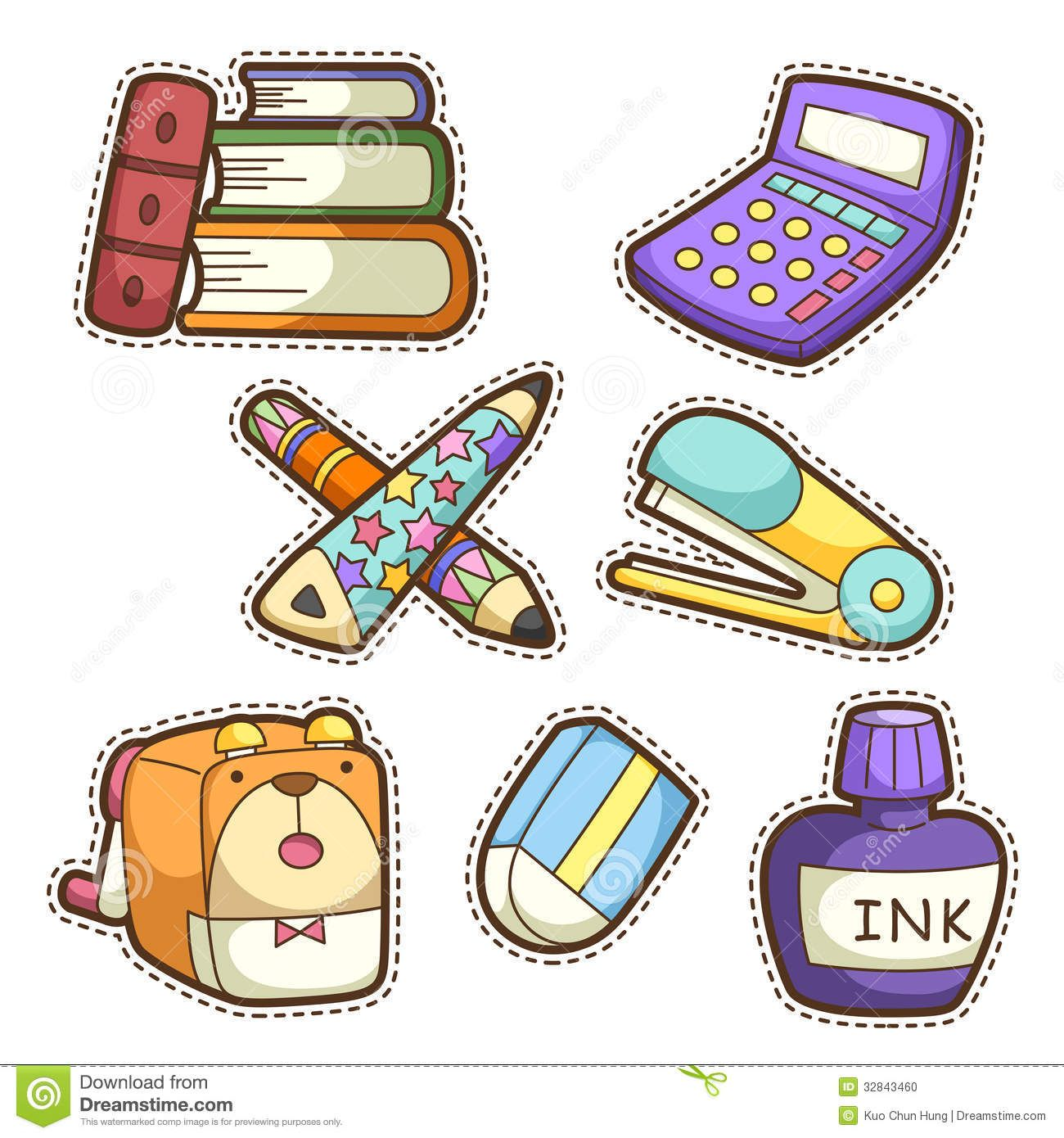 Photo About School Set Set Of Different School Items