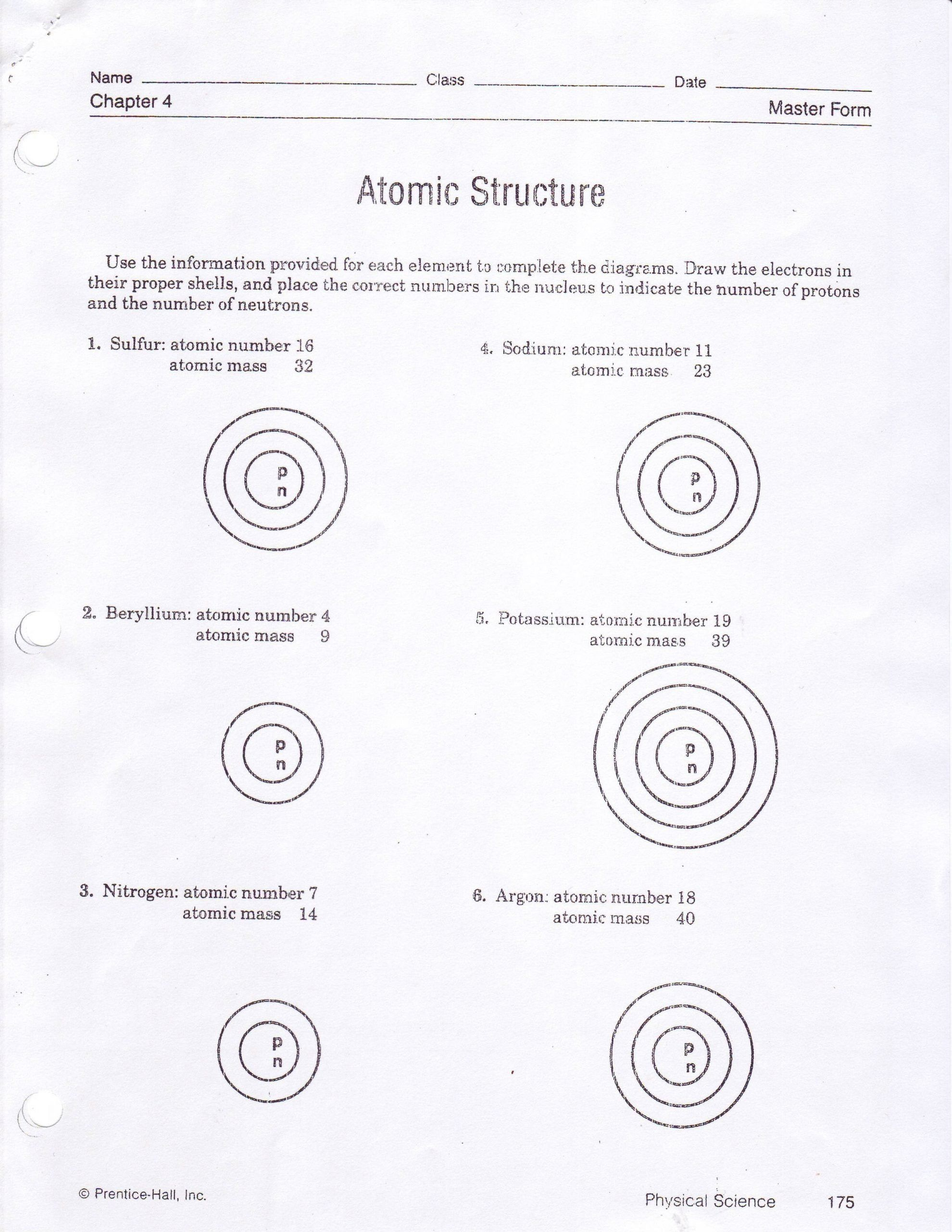 Drawing Atoms Worksheet Answer Key Drawing Atoms Worksheet