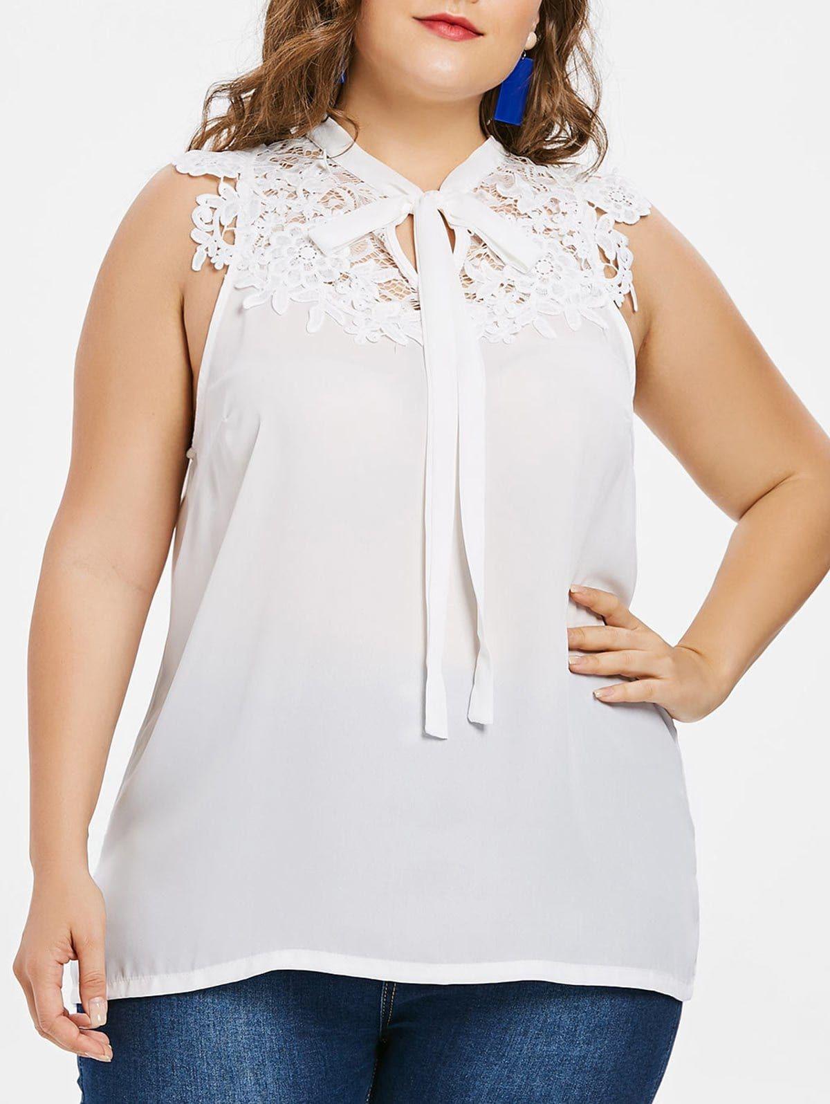 f36e5ea6fc383 Plus Size Lace Applique Sleeveless Blouse