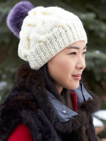 Cable Pompom Hat Patons Free Knitting Pattern Needleworkknit