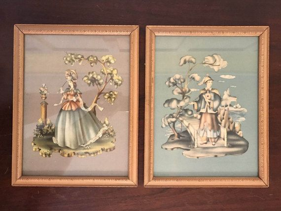 Vintage Framed Lithograph Prints Featuring Southern Belle and Man in Asian Inspired Apparel   Terone, Brewster or Turner   Donald Art Co. #dressesfromthesouthernbelleera