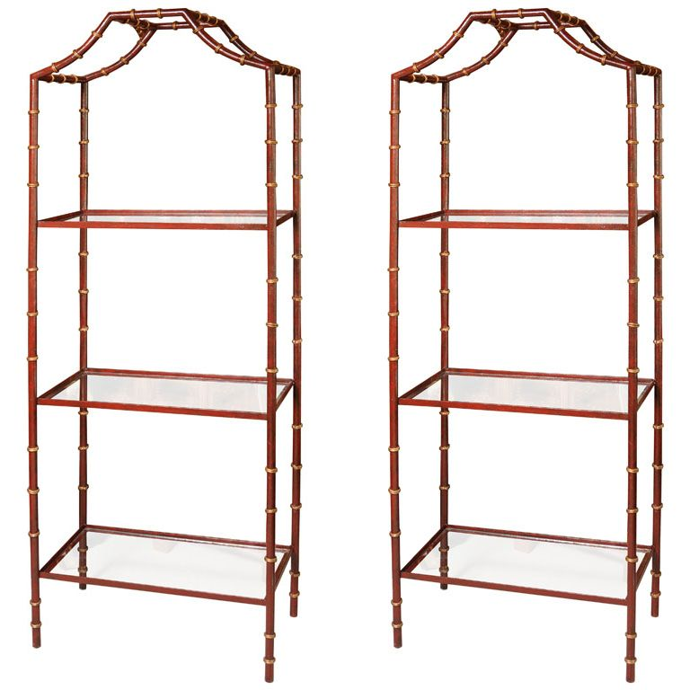 Pair Of Three Tiered Tole Faux Bamboo Etageres