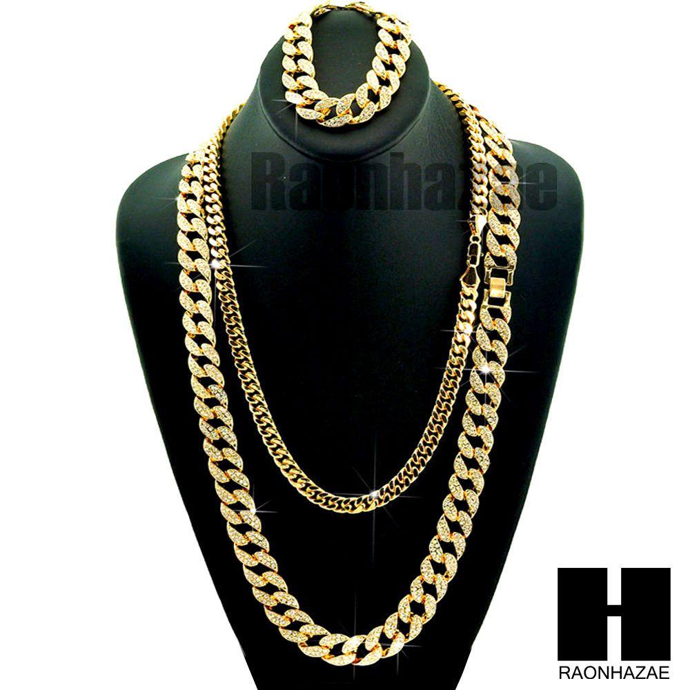 Gold Iced Out Lab Diamond Necklace 30 24 Miami Cuban Link Chain 8 5 Bracelet Gold Chains For Men Solitaire Pendant Necklace Pretty Necklaces