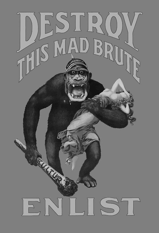 "dacd8259ab42 Destroy This Mad Brute - Enlist - WWI - This vintage WWI recruiting poster  features a giant gorilla wearing a helmet labeled ""Militarism"" holding a  blood ..."