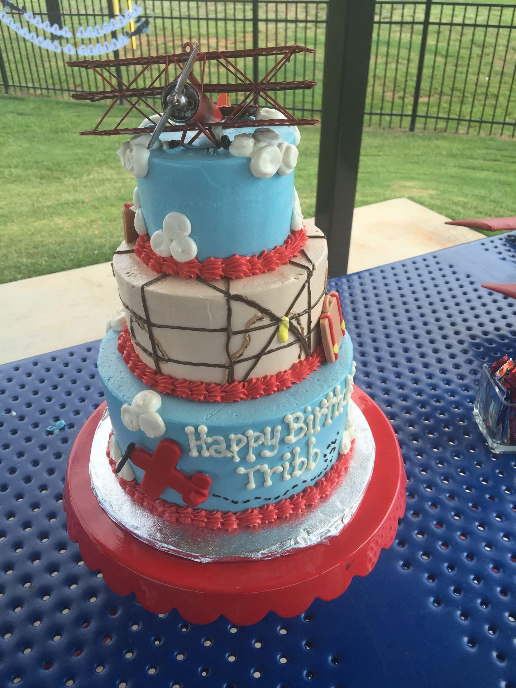 Remarkable Airplane Aviation 3 Tier Birthday Cake Greenville Sc Www Funny Birthday Cards Online Kookostrdamsfinfo