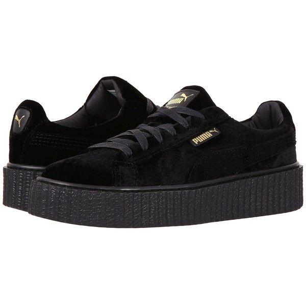 bd056d0f6301f7 PUMA Creeper Velvet (Puma Black Puma Black) Women s Shoes (9.195 RUB) ❤  liked on Polyvore featuring shoes