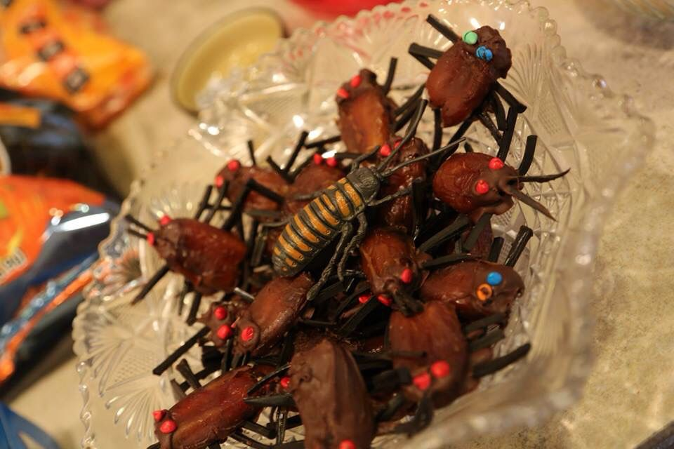 Cockroaches made out of dates, chocolate and licorice