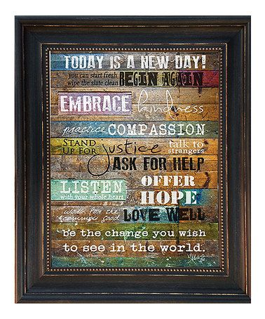This 'Today Is a New Day' Framed Wall Art by Karen's Art & Frame is perfect! #zulilyfinds