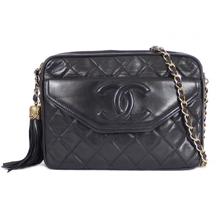 841ad938d343 Vintage Black Chanel Tassel Bag from the 1980s. Can be worn cross body.