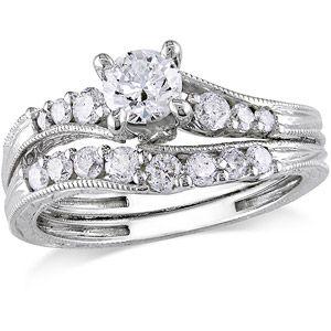 Miabella 1 Carat T W Diamond 14kt White Gold Bridal Set 1 Carat White Gold Diamond